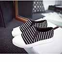 Women's Shoes Canvas Flat Heel Round Toe Fashion Sneakers Casual Black/White