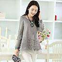 remiendo de las mujeres negro / color beige blusa / gris, manga larga cuello redondo ocasional ahueca hacia fuera