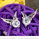Women's 925 Sterling Silver  Angel Wings Stud Earrings With Rhinestone