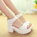 Sandaalit - Leveä korko - Naisten kengät - Kiiltonahka - Musta / Valkoinen - Rento - Avokärkiset / Creepers / Comfort / Pyöreäkärkiset