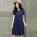Women's Casual/Cute/Plus Sizes Loose Thin Short Sleeve Knee-length Dress (Cotton)