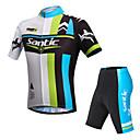 Santic mænds cykling trøje kort ærme + shorts 3d slank sommer uv resistent cykling jakkesæt