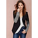 Women's Solid Black Blazer,Casual / Day Cowl Long Sleeve