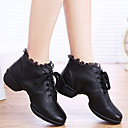 Non Customizable Women's Dance Shoes Dance Sneakers Leather Chunky Heel Black/Red/White