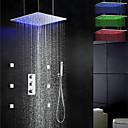 Brusehaner - Moderne - LED / Termostatisk / Regnbruser / Sidespray / Håndbruser inkluderet - Messing (Krom)