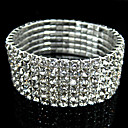 Vintage 6-layer Rhinestone Bridal Jewelry Stretch Bracelet