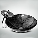 Black+White Round Tempered Glass Vessel Sink with Waterfall Faucet Pop - Up Drain and Mounting Ring