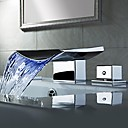 Contemporary LED/Waterfall Brass Chrome/Bathroom Waterfall Faucet/LED Waterfall Faucet Mixer