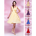 Homecoming Bridesmaid Dress Knee Length Chiffon and Stretch Satin A Line V Neck Dress