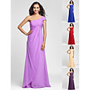 Bridesmaid Dress Floor Length Chiffon Sheath Column One Shoulder Dress