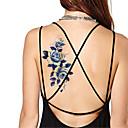 Séries Flores - Yimei - Tatuagem Adesiva - Non Toxic/Waterproof - para Feminino/Masculino/Adulto/Adolescente - de Papel - Azul - 21*10.2cm