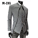 Men's Solid Gray/Black/White Blazer,Work Stand Long Sleeve Botton