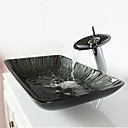 Black+White Rectangular Tempered Glass Vessel Sink with Waterfall Faucet Pop - Up Drain and Mounting Ring