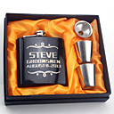 Personalized Black Stainless Steel Flasks 6-oz  Flask Set Thanks