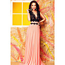 Women's  V Neck Lace Bodice Contrast Maxi Evening Dress