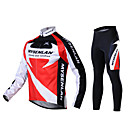 MYSENLAN Men's Winter Warm Long Sleeve Cycling Jersey + Tights(Suits) Fleece Red