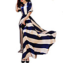Women's Party / Maxi Striped A Line Dress , Round Neck Maxi Polyester