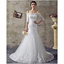 Sirena / trompeta off-the-hombro barrido / cepillo tren organza vestido de novia con rebordear por drrs