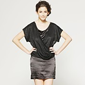 半袖ラウンドネックラインのドレス/婦人服(黒)(FF - - cb1200008)ダウンのフロントクロス