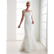 Lanting Trumpet/Mermaid Plus Sizes Wedding Dress - Ivory Floor-length Off-the-shoulder Tulle/Organza