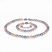 豪華なAA+真珠♥ジュエリーセット(ネックレス、ピアス、ブレスレット)