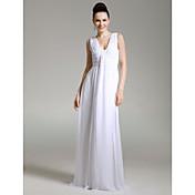 Formal Evening/Military Ball Dress - White Plus Sizes Sheath/Column V-neck Floor-length Chiffon
