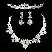 Mujer Cristal joyería de disfraz Legierung Collares Pendientes Tiaras Para Boda Fiesta Cumpleaños Pedida Regalos de boda
