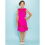 vaina / columna joya cuello rodilla longitud organza vestido de la dama de honor junior by lan ting bride®