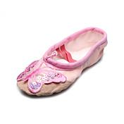 Hecho a mano zapatos de baile de lona Split-Ballet Slipper único con la mariposa para los niños