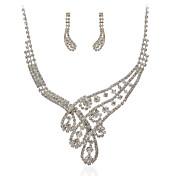 maravillosas joyas de fantasía de aleación checo plateado de boda joyería conjunto, incluyendo collar y los pendientes