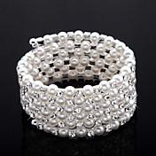 diamantes de imitación exquisita damas cadena / de tenis pulsera en blanco perla
