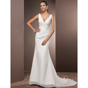 マーメイド/トランペットVネックコートトレンチコートシフォンウェディングドレス、サイドドレープby lan tingbride®