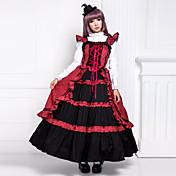 Una Sola Pieza/Vestidos Gosurori Victoriano Cosplay Vestido  de Lolita Retazos Sin Mangas Longitud Larga Vestido por Algodón