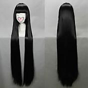 Pelucas de Cosplay InuYasha Kikyo Negro Largo / Corte Recto Animé Pelucas de Cosplay 100 CM Fibra resistente al calor Mujer