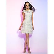 Vaina / columna barco cuello corto / mini vestido de fiesta de encaje con flor por ts couture®