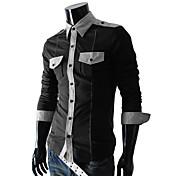 男性用 カラーブロック カジュアル シャツ,長袖 コットン混 ブラック / ブルー / グリーン