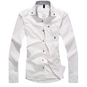 男性用 プレイン カジュアル シャツ,長袖 コットン混 ブルー / グリーン / レッド / ホワイト / イエロー