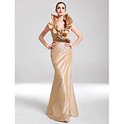 Evento Formal / Baile Militar Vestido - Elegante Trompeta / Sirena Cuello en V Hasta el Suelo Tafetán con Volantes / Recogido Lateral