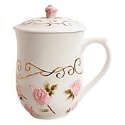 Pink Rose tazas con tapa, de cerámica 14 oz