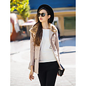 TSダブルブレスト毛皮の襟ウールコート