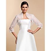 Envolturas de boda Abrigos / Chaquetas 3/4 manga Organza Blanco Boda / Fiesta / Informal Camiseta Broche