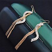 Pendientes colgantes La imitación de diamante Legierung Moda Dorado Joyas 2 piezas