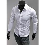 男性用 プレイン カジュアル シャツ,長袖 コットン混 ブラック / ブルー / レッド / ホワイト