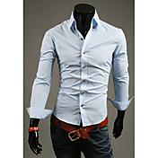 Camisa LEEBIN Hombres Botón delgado Collar Solid3 manga larga (azul claro)