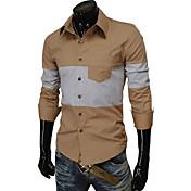 男性用 カラーブロック カジュアル シャツ,長袖 コットン ブラック / レッド / ホワイト / ベージュ