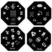 1KS Nail Art Stamp Lisování obrázku Šablona Plate QA Series NO.5-60 (Smíšený vzor)