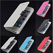 Para Funda iPhone 5 Flip / Congelada / Magnética Funda Cuerpo Entero Funda Un Color Dura Cuero Sintético iPhone SE/5s/5