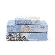 """Juego de sábanas ,4-pieza de microfibra azul retro floral con 12 """"profundidad de la bolsa"""