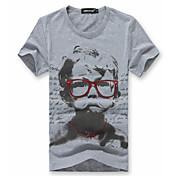 幸せな時間ボーイ図プリントクールサマーTシャツ(グレー)