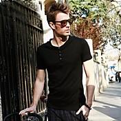O Cuello Viishow Hombres Casual Negro algodón manga corta camiseta TD01422